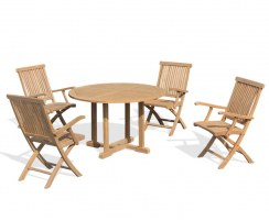Canfield 4 Seater Round Table 1.2m & Brompton Folding Armchairs