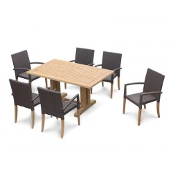 Cadogan Teak Pedestal Table 1.5m & 6 St. Tropez Rattan Stacking Chairs