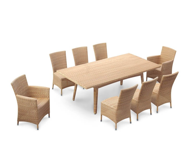 Riviera 8 Seater Rattan Garden Dining Set With Side Chairs