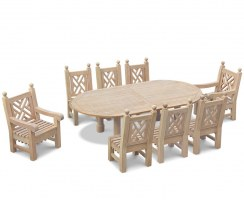 Titan 8 Seater Oval Table 1.4x2.6m, Chiswick Armchairs & Side Chairs