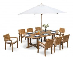 8 Seater Patio Set with Hilgrove Oval Table 2.6m & Monaco Stacking Chairs