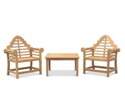 Hilgrove Coffee Table & Lutyens-Style Armchairs, Teak Conversation Set