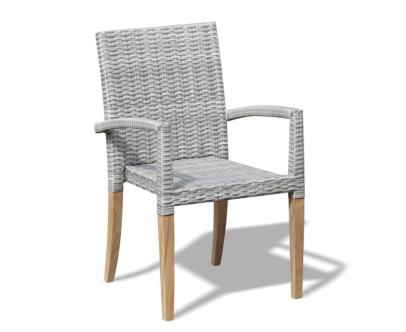 St. Tropez All-Weather Rattan and Teak Stacking Chair