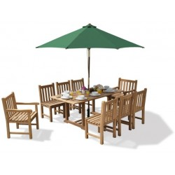Hilgrove Rectangular 1.8m Table & 8 Windsor Chairs, Teak Dining Set