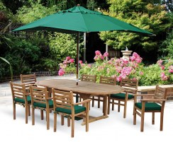 Brompton Extending 1.8 - 2.4m Table & 8 Yale Stacking Chairs Teak Set