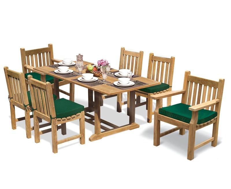 Hilgrove Teak Table 1.8m, Windsor Chairs & Taverners Armchairs