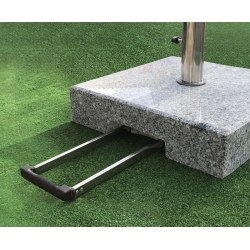 granite parasol base with wheels and handle