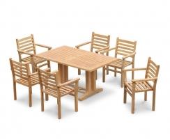 Cadogan 6 Seater Teak Pedestal Table 1.5m & Yale Stacking Chairs