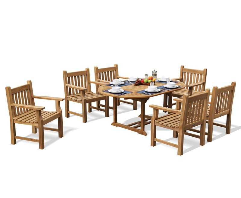 Brompton Single-Leaf Teak Extendable Table with 6 Taverners Armchairs