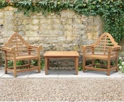 Hilgrove Coffee Table & Lutyens-Style Armchairs, Teak Conversation Set