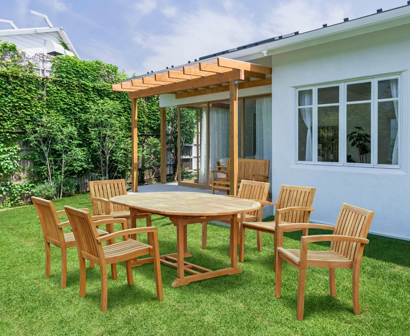 Brompton Extending 1.2 - 1.8m Table & 6 Monaco Stacking Chairs