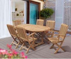 Brompton Bijou Extending 1.2 - 1.8m Table & 6 Rimini Folding Armchairs
