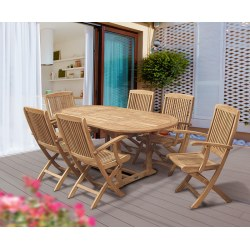 Brompton Bijou Extending 1.2 - 1.8m Table & 6 Rimini Folding Armchairs