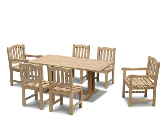 Cadogan 6 Seater Outdoor Table 1.8m, Ascot Side Chairs & Carver Chairs