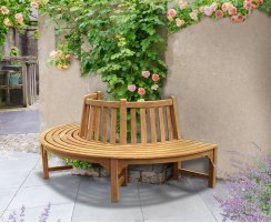 Half Tree Seat, Teak Semi Circle Bench