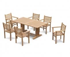 Cadogan 6 Seater Teak Pedestal Table 1.8m & Yale Stacking Chairs