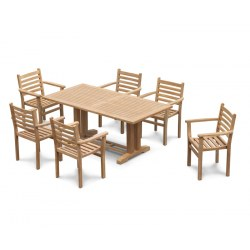 Cadogan 6 Seater Teak Pedestal Table 1.8m & Yale Stacking Chairs
