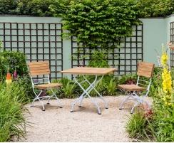 Teak Bistro Square 0.8m Table & 2 Side Chairs Set, Satin White Frame