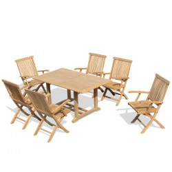 Hilgrove 6 Seater Rectangular Table 1.5m with Brompton Folding Armchairs