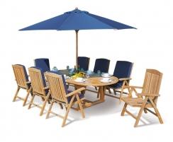Brompton Extending 1.8 - 2.4m Table & 8 Cheltenham Recliner Chairs