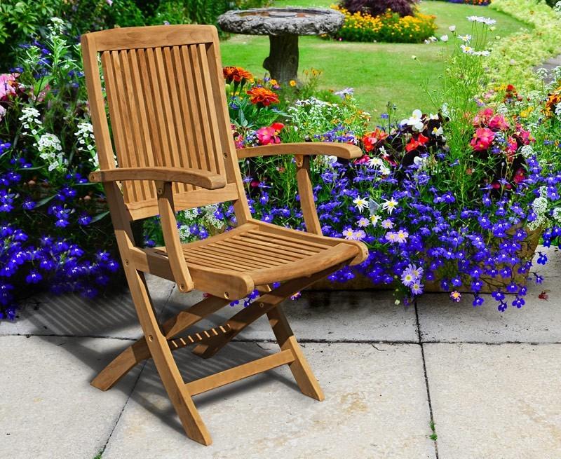 Rimini Wooden Garden Chair With Arms Teak Folding Chair