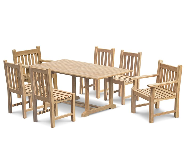 Hilgrove Teak Table 1.8m, Windsor Chairs & Taverners Armchairs