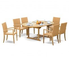 Brompton Extending 1.2 - 1.8m Table & 6 St. Tropez Stacking Chairs