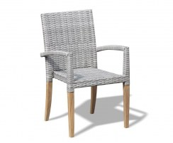 Sandringham Square Garden Table and 4 St. Tropez Stacking Chairs Set