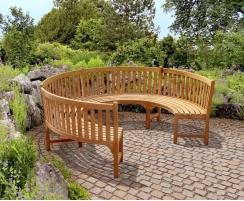 Henley Teak 3/4 Circular Curved Garden Bench