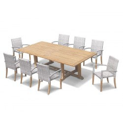 Hilgrove 8 Seater Rectangular Table 2.6m & St. Tropez Stacking Chairs