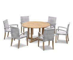 Canfield Round 1.3m Teak Table & St. Tropez Rattan Stacking Chairs