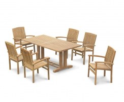 Cadogan Teak Pedestal Table 1.8m & 6 Bali Stacking Chairs