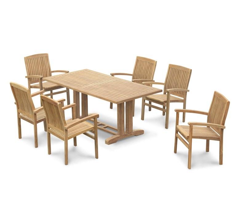Cadogan Teak Pedestal Table 1.8m & 6 Bali Stacking Chairs