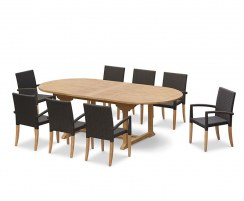 Brompton Extending 1.8 - 2.4m Table & 8 St. Tropez Stacking Chairs
