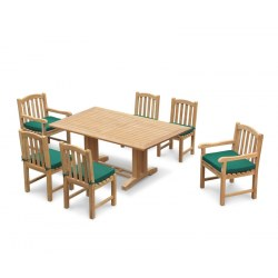 Cadogan 6 Seat Rectangular Pedestal Table 1.8m, Clivedon Armchairs & Side Chairs