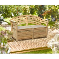 Salisbury Teak Storage Bench with arms – 1.65m