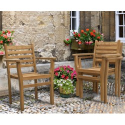 Yale Teak Stacking Garden Dining Chair