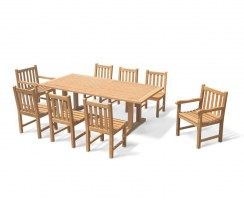 Cadogan 8 Seater Pedestal Table 2.25x1.1m, Windsor Armchairs & Side Chairs