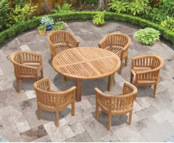 Titan 6 Seater Round Table 1.5m & Contemporary Armchairs