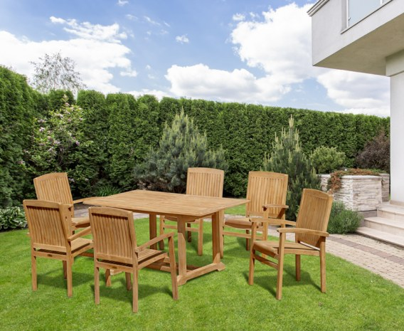 Hilgrove Rectangular Table 1.5m with 6 Bali Stacking Chairs
