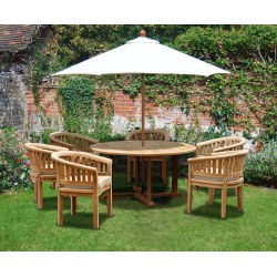 Canfield Teak Contemporary Dining Set