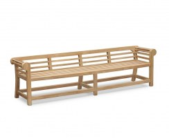 Teak Lutyens Garden Bench, Low Back - 2.7m