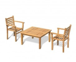 Hilgrove Teak Garden Coffee Table and 2 Yale Stacking Chairs Set