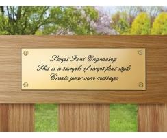 Brass Memorial Plaque with script engraving