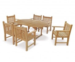 Brompton Double-Leaf Teak Extending Table & 6 Teak Armchairs