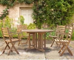 Berwick 1.2m Round Table and 4 Lymington Folding Armchairs Set