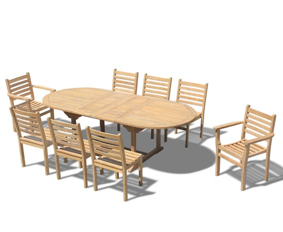 Brompton Extending Table 1.8-2.4m, Yale Stacking Side and Armchairs