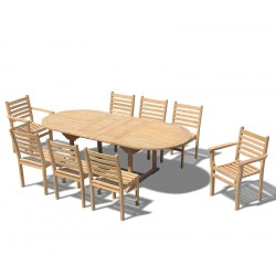 Brompton 8 Seater Extending 1.8-2.4m Table, Yale Stacking Armchairs and Side Chairs