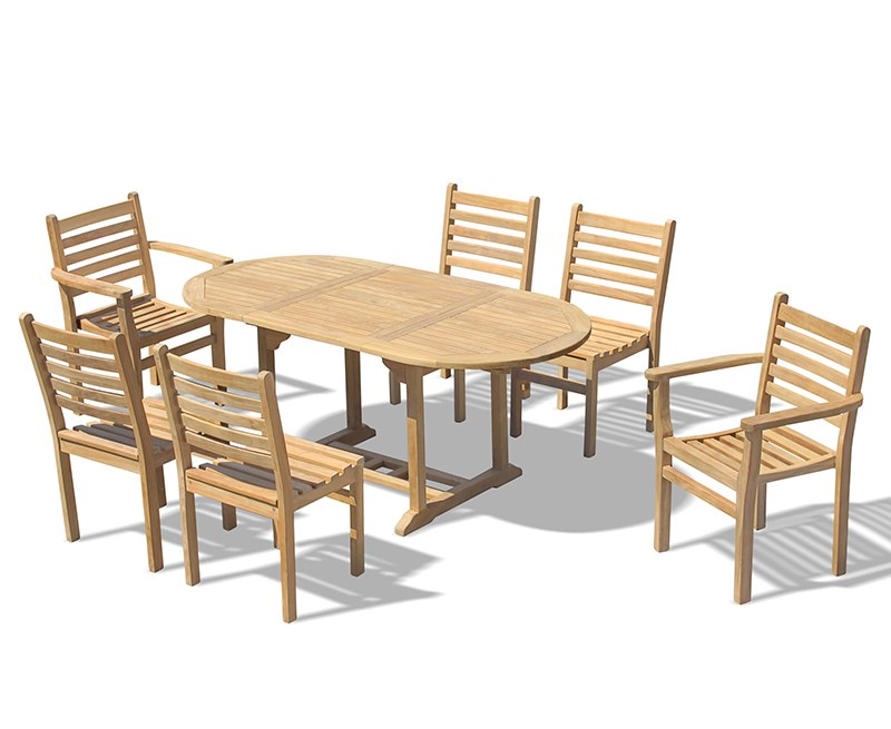 Brompton Bijou 6 Seater Extending 1.2 - 1.8m Table, Yale Stacking Armchairs and Side Chairs