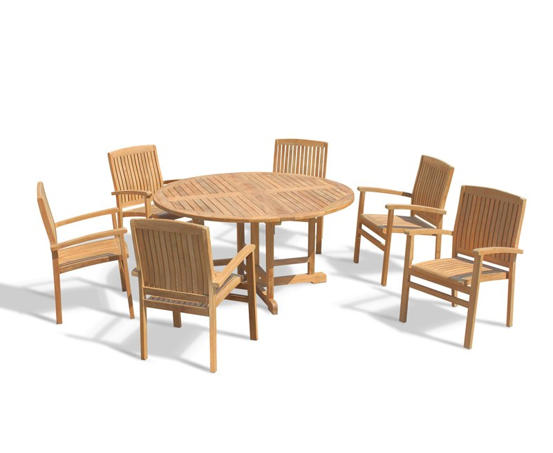 Berrington Round Folding Table 1.5m and 6 Bali Stacking Chairs